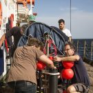 Preparing and launching the drifter (Credit: Lisa Hoffmann, CC BY-NC-ND)