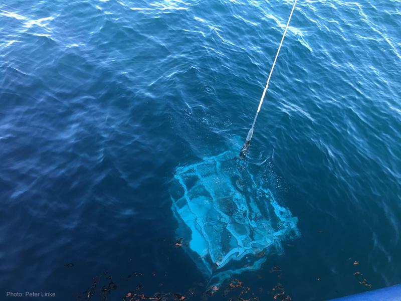 Das Gerät veschwindet langsam aber sicher im dunklen Wasser der Nordsee. Photo: Saskia Elsen