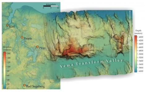 Links eine topographische Karte vom Kreis Plön und Kiel (Daten vom US Geological Survey) mit einer Auflösung von 30 m. Rechts ein Ausschnitt der Multibeam-Bathymetrie, die wir auf dieser Expedition in drei Linien (in Ost-West-Richtung) kartiert haben und in 60 m Auflösung darstellen können. Die Farbgebung der Karten ist an die jeweiligen Höhenunterschiede angepasst, der Maßstab ist jedoch bei beiden Karten gleich. / Left: A topographic map of the Plön-Kiel area (data from the US Geological Survey) in a 30 m spatial resolution. Right: A part of our multibeam bathymetry produced during this expedition that consists of three swath lines (trending east-west) and gridded in 60 m spatial resolution. The colour codes of the maps are adapted to the range in elevations (or depths), but the scales are the same in both maps. ©Nico Augustin