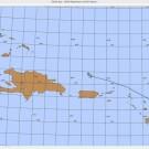 Seekarte der Karibik, in der das Schiff der tiefsten Station entgegenfährt / Chart of Caribbean Sea when the ship is coming to the deepest station in the Puerto Rico Trench. ©Inma Frutos