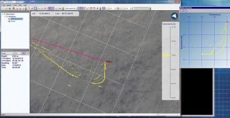 Verfolgen des Schlittens während der Probenahme mittels Pinger / Tracking of the sledge during a deployment. ©Inma Frutos