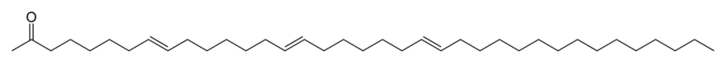 The chemical structure of a tri-unsaturated alkenone.