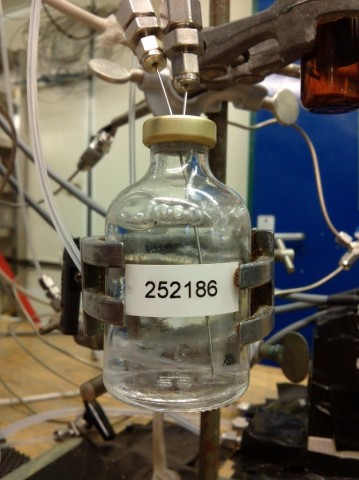 Labeled Bedford number on a vial while purging (Photo: Dennis Booge)